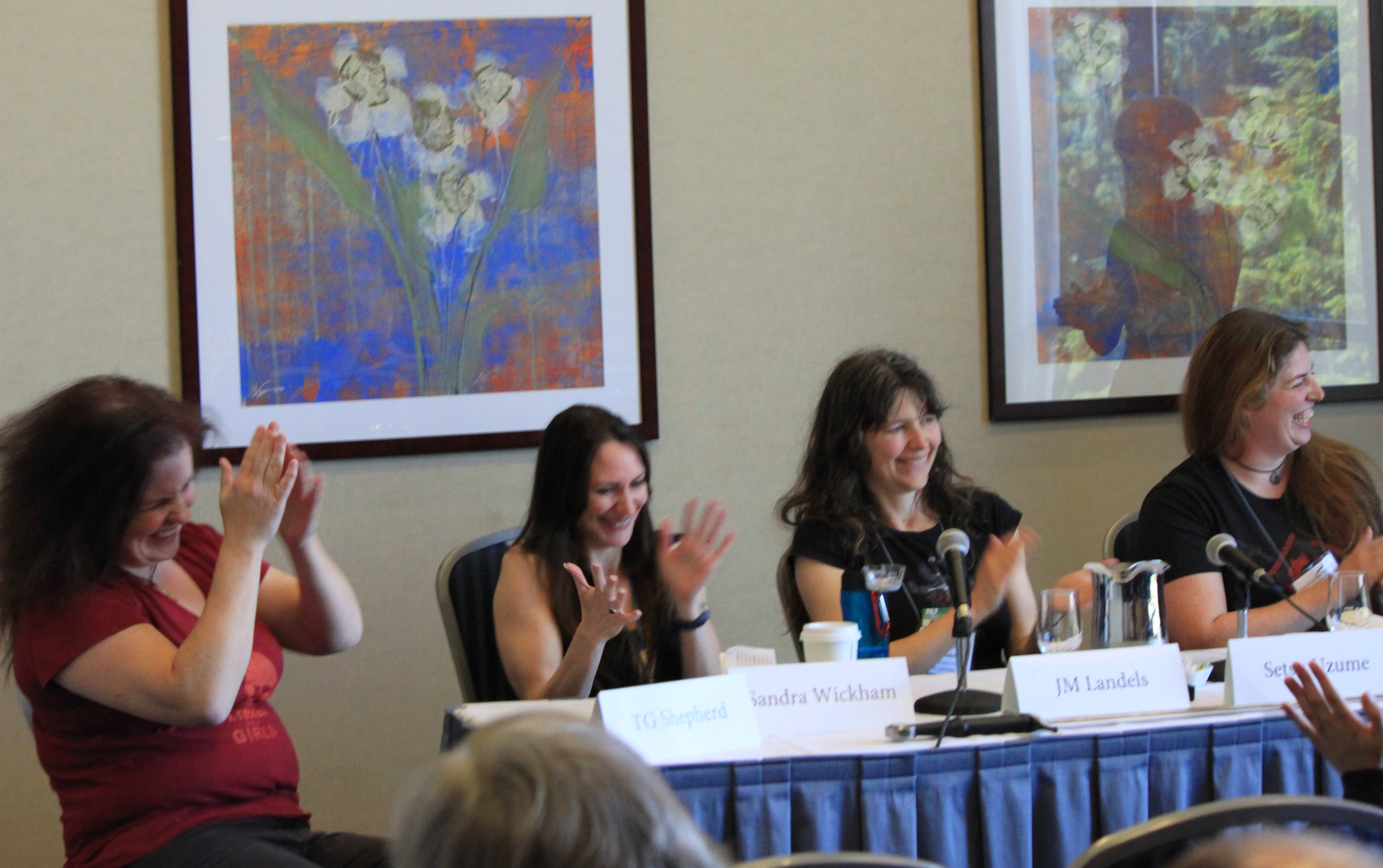 Lots of laughs on the Real Life Superwomen Panel, CIF 2016. (L to R) Lisa Gemino, Sandra Wickham, JM Landels, Setsu Uzume